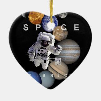 planetas de la Sistema Solar de la misión espacial Adorno Navideño De Cerámica En Forma De Corazón
