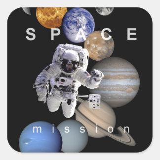 planetas de la Sistema Solar de la misión espacial Pegatina Cuadrada