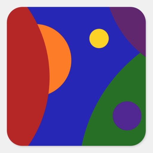 Planetas del arco iris pegatinas cuadradas personalizadas