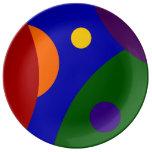 Planetas del arco iris plato de cerámica