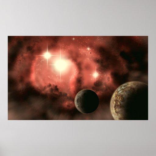Planetas en la impresión de la nebulosa impresiones