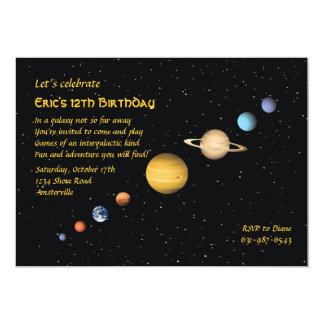 Planetas en la invitación del espacio