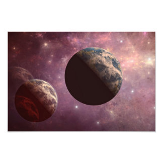 Planetas en un universo rosado impresion fotografica
