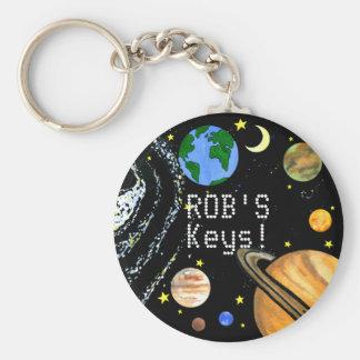 Planetas y espacio felices llavero redondo tipo pin