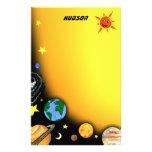 Planetas y espacio felices papeleria personalizada