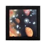 planetas y estrellas en espacio cajas de regalo