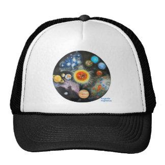 Planetas y nebulosas en un día gorros bordados