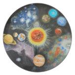 Planetas y nebulosas en un día platos de comidas