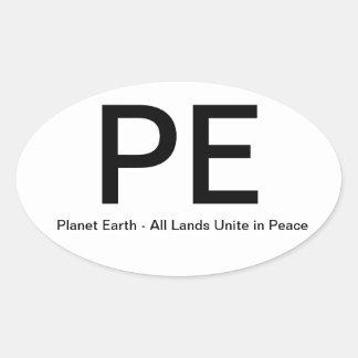 PlanetEarth-AllLandsUniteinPeace Colcomanias De Óval Personalizadas