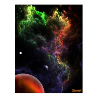 Planetoids In The Nebula Cluster Space Art Postcard