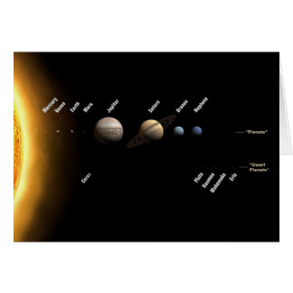 Planets and dwarf planets card