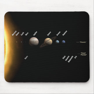 Planets and dwarf planets mouse pad