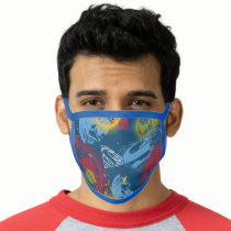 Planets and Logo Pattern Face Mask