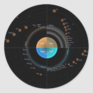 Planets and moons classic round sticker