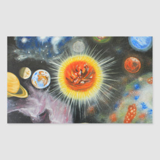 Planets and nebulae in a day rectangular stickers