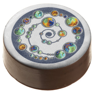 Planets crop circle formation + your backgr. color chocolate dipped oreo