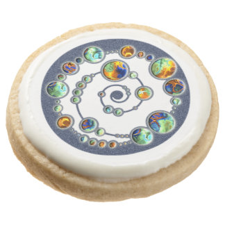 Planets crop circle formation + your backgr. color round shortbread cookie
