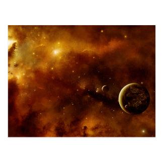 Planets in a nebula postcard