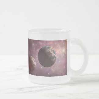 Planets in a Pink Universe Frosted Glass Coffee Mug