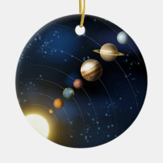Planets of the solar system round ceramic decoration