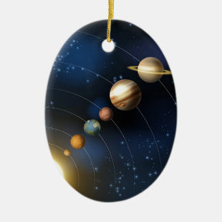 Planets of the solar system ceramic oval decoration