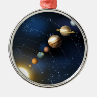 Planets of the solar system Silver-Colored round decoration