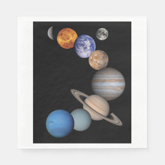 Planets of the solar system paper napkin