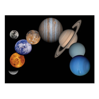Planets of the solar system postcard