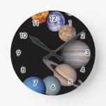 Planets of the solar system round wallclock