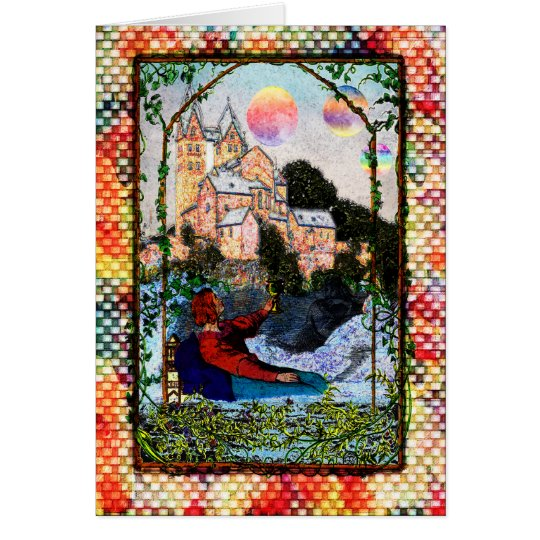 Planets Over Castle Greeting Card