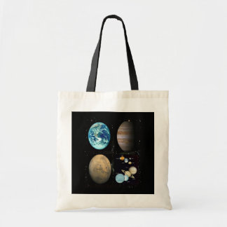 Planets solar system collage tote bag