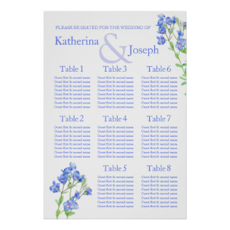 Planificador azul de la tabla del asiento del boda póster