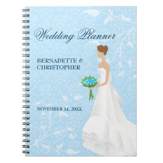 Planificador azul del boda de la novia triguena libros de apuntes