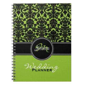 Planificador blanco del boda del damasco del negro spiral notebooks