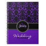 Planificador blanco negro púrpura del boda del dam libros de apuntes
