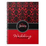 Planificador blanco negro rojo del boda del damasc cuaderno