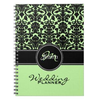 Planificador blanco negro verde del boda del damas cuaderno