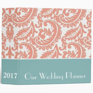 Planificador coralino del boda del damasco