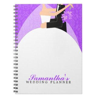 Planificador de encargo del boda de novia y del no spiral notebooks