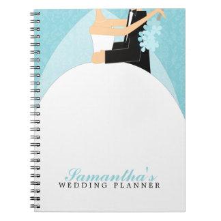 Planificador de encargo del boda de novia y del no libros de apuntes con espiral