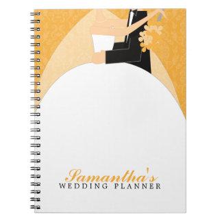 Planificador de encargo del boda de novia y del no spiral notebook