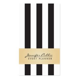 Planificador de eventos blanco y negro de la raya tarjetas de visita