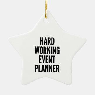 Planificador de eventos de trabajo duro adorno navideño de cerámica en forma de estrella