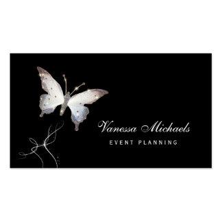 Planificador de eventos elegante de la mariposa tarjetas de visita