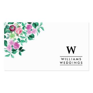 Planificador de eventos floral elegante del boda tarjetas de visita