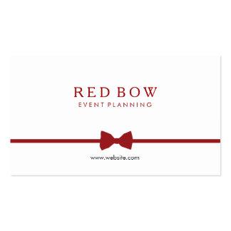 Planificador de eventos rojo de la pajarita tarjetas de visita