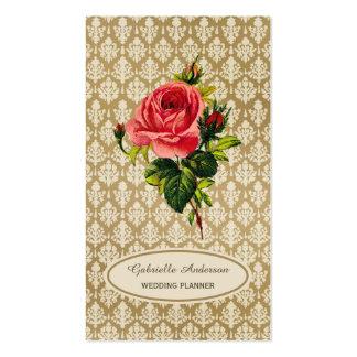 Planificador de eventos subió rosa del damasco del tarjetas de visita