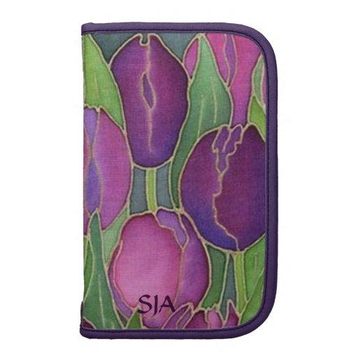 Planificador de los tulipanes púrpuras/caso floral