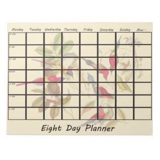 Planificador de ocho días floral de la flor de los blocs