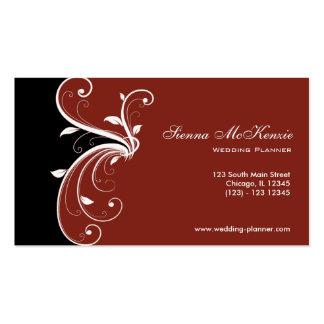 Planificador del boda del remolino tarjetas de visita